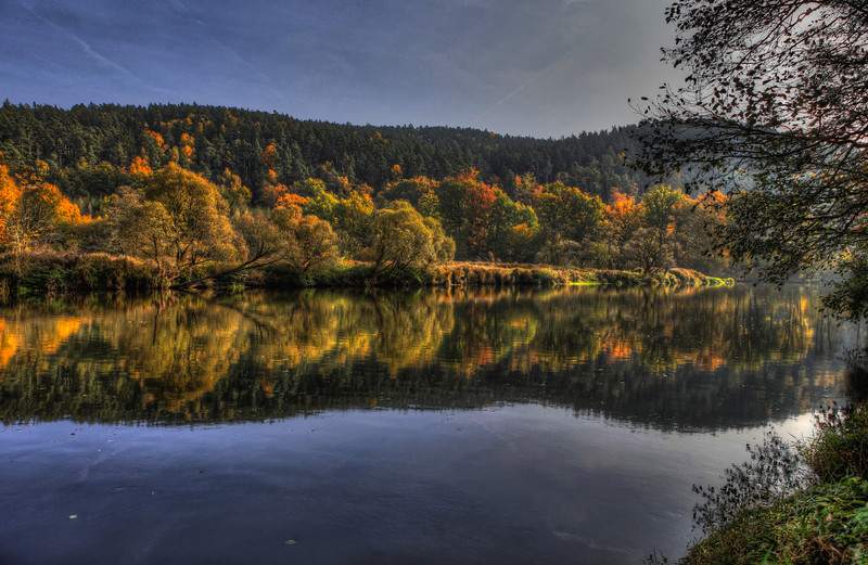 Yellow Green and Blue - Autumn Reflections 3