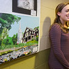 Senior Shauna Ridley shows off her artwork during the Oakmont's Evening with the Arts on Friday evening. SENTINEL & ENTERPRISE / Ashley Green