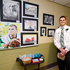 Senior Cody Walter shows off his art during the Evening with the Arts at Oakmont on Friday evening. SENTINEL & ENTERPRISE / Ashley Green
