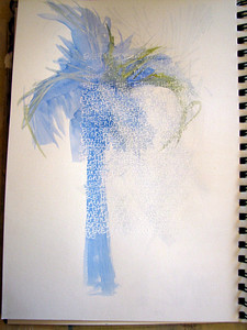 White gel pen under blue watercolor tree...close-ups to follow....