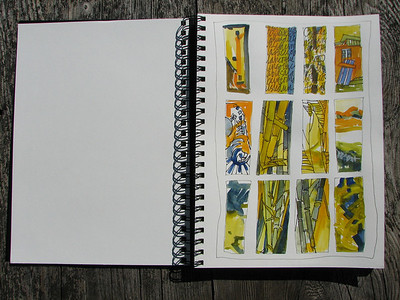 Thumbnails of various compositions using blue, orange and green..... before I chose my photo of reference.