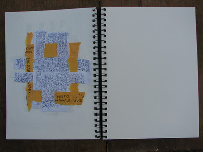 Warm-up writing ripped and woven with manilla envelope for patterns.