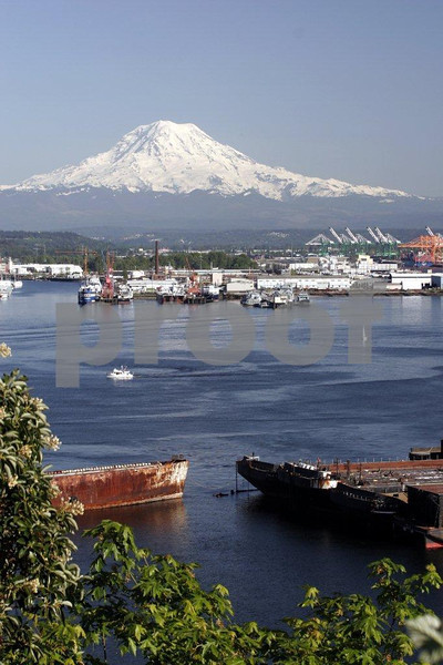 The Port of Tacoma and Commencement Bay with Mt. Rainier in the background.