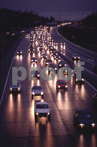 Car traffic on a rainy night on Inerstate #5 in Olympia, WA.