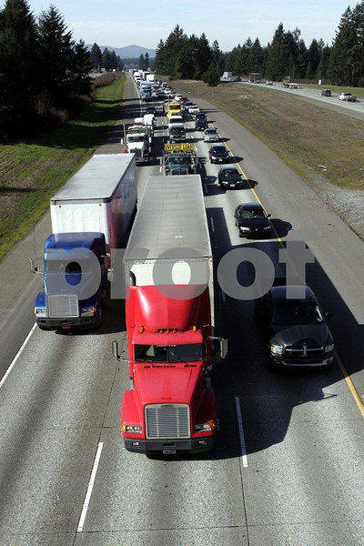 Truck traffic on Interstate #5 in Lacey, WA.