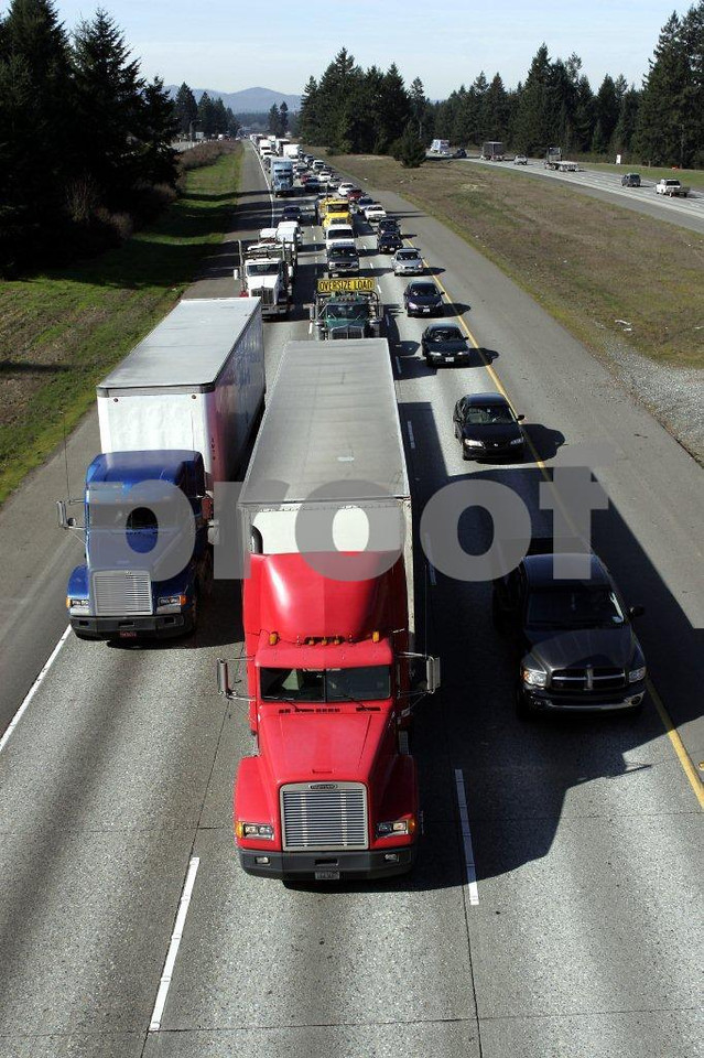 Truck traffic on Interstate #5 in Lacey, WA.