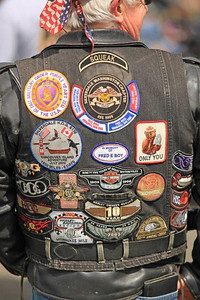Proud biker wearing all that for which he stands. WA