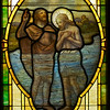 The baptism of Christ by John the Baptist.  I find this window odd but quaintly appealing.  The artist was trying to convey an underwater effect, apparently.  Artistically it may be among the least successful of the windows but I like it.