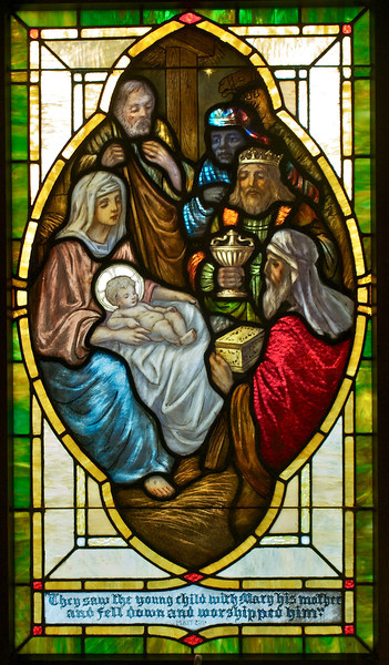 The three kings visit the stable.  I believe this window has been restored. Many others are still awaiting treatment.