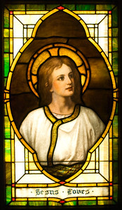 """Note the contrast between this window and its companion, """"Jesus Saves.""""  This window is the original image."""
