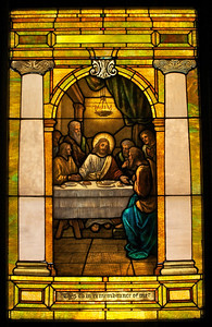 The Last Supper window is the one in most urgent need of restoration.  The bowed effect you see across the bottom of this window is not a trick of photography.  The weight of the window is causing it to bulge in the frame.  There are places where you can see daylight because the bowing and sagging are causing the pieces of glass to separate.