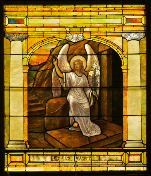 The angel praying at the empty tomb.  This is Dan's second try at taking a photograph that doesn't show the shadow of the support bar across the front of the window.  It is not perfect, but better than the first one.