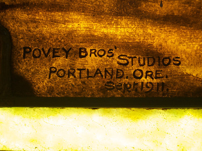The Povey Brothers signature from the Woman in the Well window.