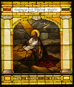 This window is one of three over the choir loft.  It shows Jesus praying in Gethsemane.