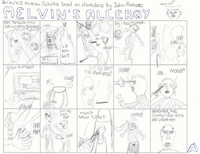 "By Andrew Schultz.  Here's his description:  This is the first Melvin I ever fully drew. I got this idea from Smoking Melvin and had to copy a lot of the Melvin strips to get started. You'll notice a few howlers. But basically I wanted to show his dad as a total hypocrite because I got a lot of that crap from various Adults in Authority and it only took me 10+ years to get over it. I guess I was also thinking of that Beastie Boys line ""Ya pops caught ya smokin and he said no way/That hypocrite smokes three packs a day!"" And of the time a friend and I went boating after middle school and his grandfather smoked this big long smelly cigar as he drove us to the beach. He only let us open one of those small rear windows behind the roll-down ones. Then our boat capsized.."