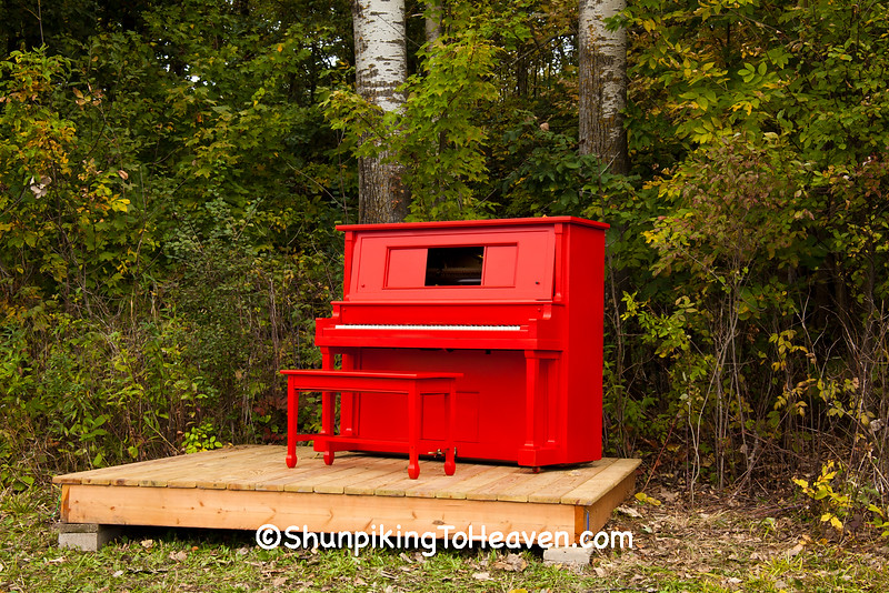 """Red Piano Project"" by Reedsburg ArtsLink, 2015 Farm/Art DTour, Sauk County, Wisconsin"