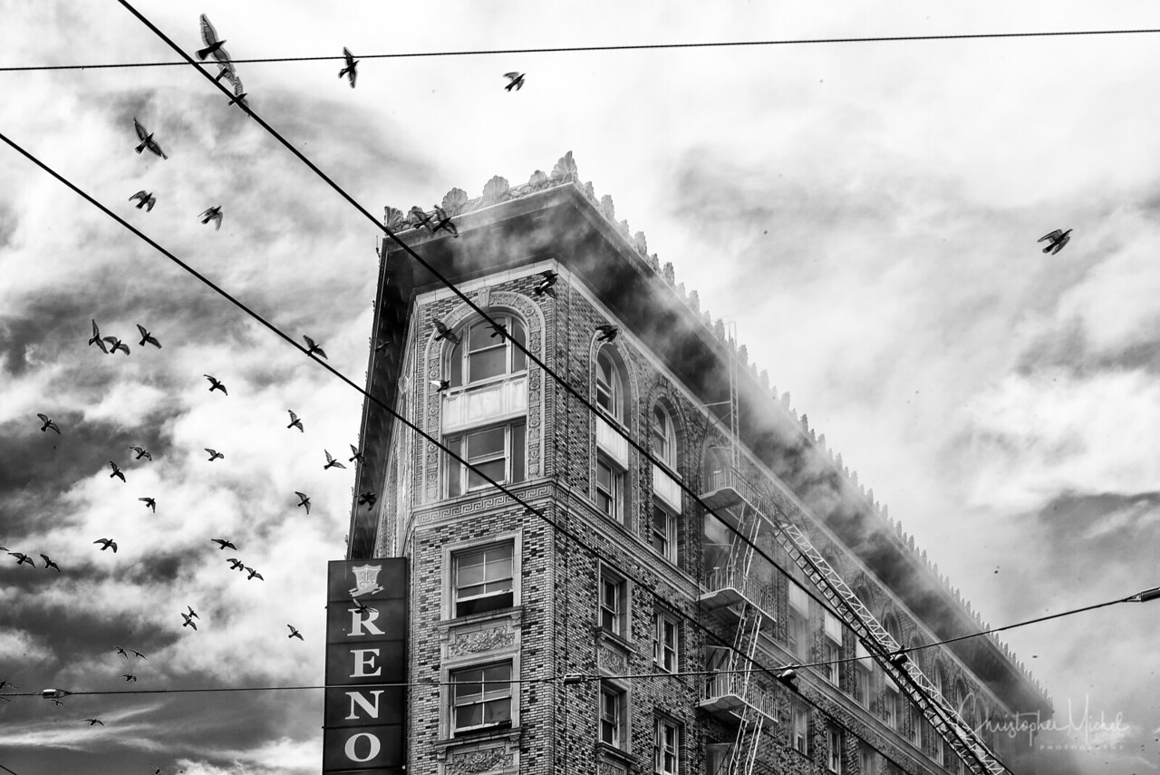 Fire at the Renoir Hotel on Market Street.