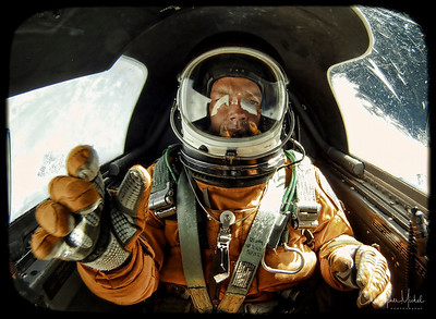 Spacesuit Selfie aboard a U-2 Spyplane at 70,000 feet.