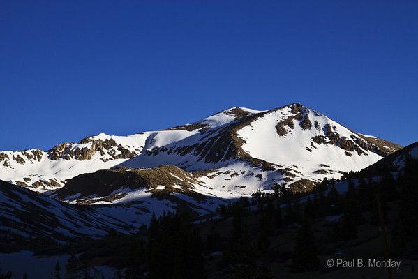 "Mt Democrat in the morning sun from the valley below.  This, to me, is the ""classic"" Rocky Mountain shot ... not overly creative, but effective."