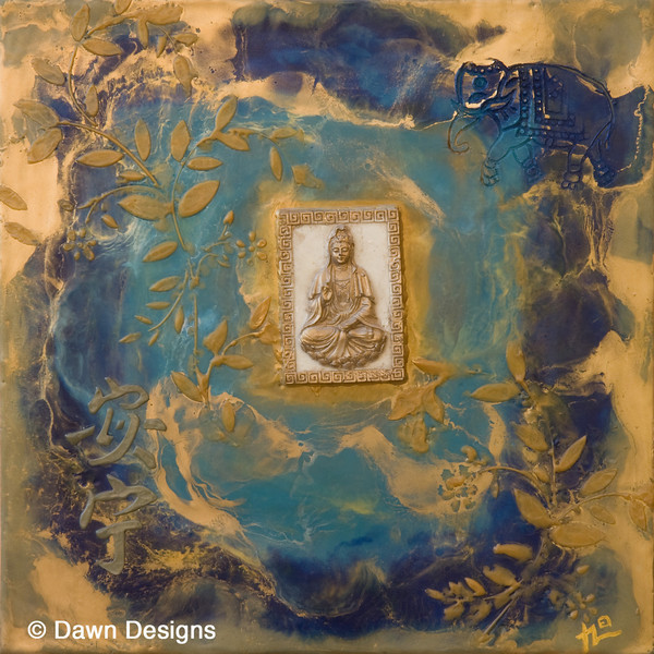 Knowledge and Self Cultivation III <br /> <br /> The elephant stands for strong mountain like energy and the ability to remember. <br /> The figure of Kuan Yin, one of the most beloved Boddhisattva's,<br /> represents compassion and mercy for all beings. The calligraphy says <br /> Peace, by quietening our mind we learn easily and live a more peaceful life.
