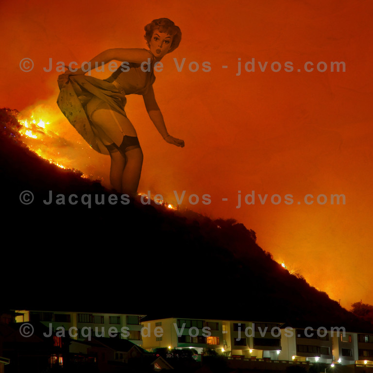 And Now For Something Completely Different....<br /> <br /> Mountain Fire (Fish Hoek, South Africa) + Vintage Pin Up Art = Whatever It Is You Make Of It...