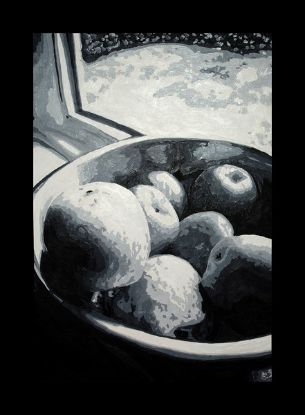 """A Bowl of Apples on a Rainy Day""<br /> 10 Values with acrylic.<br /> 8.25""x12"""