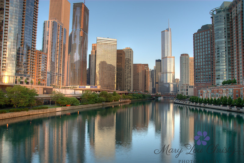 Downtown Chicago on the Chicago River.