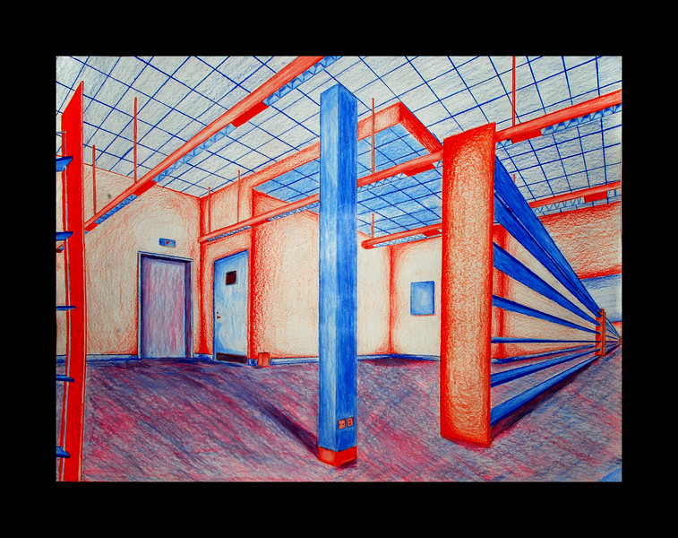 """""""All Checked Out""""<br /> 2-point perspective with pencil & prisma colour.<br /> 18""""x24"""""""