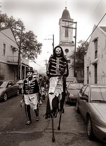 Zohar Israel and members of the Northside Skull & Bones gang, Mardi Gras in New Orleans, LA , Feb. 12, 2013. By David Bundy