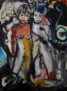 """2010, 16"""" x 20"""". The Girls, Acrylic on canvas. (Owned by Jim Litchfield)."""
