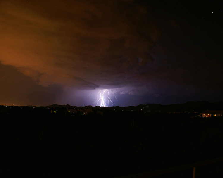 Monsoon Lightning over Tortolita Mountains, Tucson, Arizona