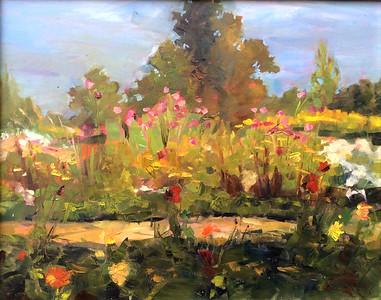 Pink Cosmos at Cat Run Farm–$325 framed 16x20