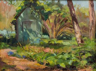 Little Green Shed, 9x12, $225 framed