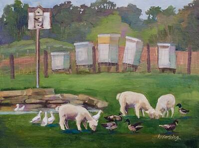 Little Lambs, 9x12, $225
