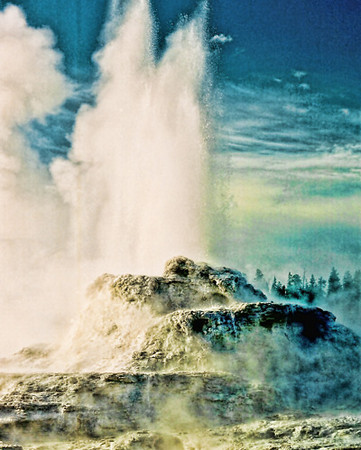 Castle Geyser, Yellowstone National Park, Wyoming, Enhanced