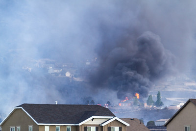 Herriman Rose Canyon House on fire.