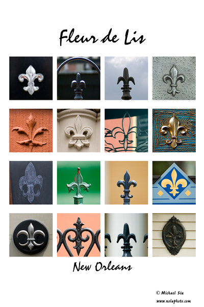 A Collection of Fleur de Lis throughout New Orleans. <br /> <br /> You can purchase this print by clicking on it and select Buy: this photo.  <br /> <br /> Thank you and I hope you enjoy this as much as I did making it.  All of these images except for one are throughout the city, can you find them?<br /> <br /> Michael Siu<br /> <br /> If you want to see the detail use the smugloupe at the top of the page or check the O under other sizes.