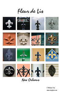 A Collection of Fleur de Lis throughout New Orleans.   You can purchase this print by clicking on it and select Buy: this photo.    Thank you and I hope you enjoy this as much as I did making it.  All of these images except for one are throughout the city, can you find them?  Michael Siu  If you want to see the detail use the smugloupe at the top of the page or check the O under other sizes.
