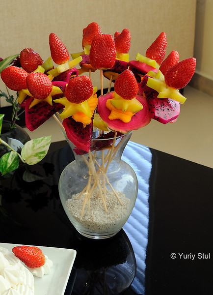 Flowers and strawberries