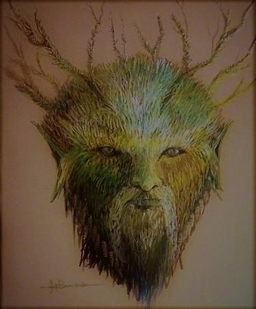 """Triton Green Man 14""""x17"""" Faber pastel Pencil 0n Kona Paper"""