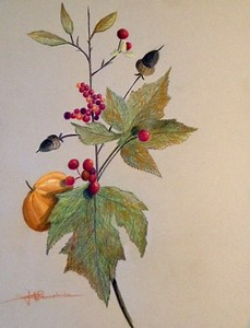 "Autumn Bouquet 13""x19"" Faber Oil Based Colored Pencil on Vice Versa Ppaper"
