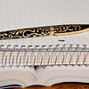 Fuliwen gold and black swirl fountain pen and cap acquired  2011, on  spiral notebook and open book.