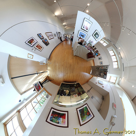 Shades of Spring 2012, Art League of Germantown spring show at BlackRock Arts Center, Germantown, MD.<br />  <br /> This photograph is an stereographic projection view of the room, aimed towards the nadir. Stitched from 13 different shots. Over several days, I am posting on my daily photos gallery different projections from this single set of pictures, illustrating the wide range of perspectives that one can have from a single vantage point.<br />  <br /> Daily Photo: 5/6/2012
