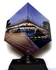 "Carroll Creek at Night - Cube<br /> This is a photographic sculpture, measuring 10""x10""x10"", representing a spherical panorama"