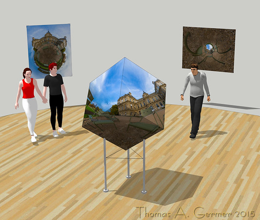 40x40x40 Panoramic photographic sculpture modeled in a gallery