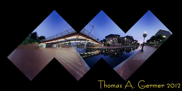 """Carroll Creek at Night"" (Flattened Cube)<br /> <br /> This image folds to make a cube, showing different views in the evening at Carroll Park in Frederick, MD. The zenith is the upper right corner, while the nadir is the left, inner corner on the bottom. So, you would hold this cube up and down by the two opposing corners, spinning it to view the scene."