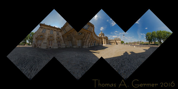 Institut de France (Flattened Cube), Spherical panorama, cubic sculpture proof