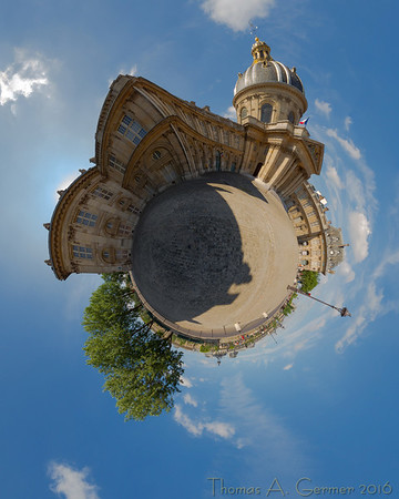Institut de France (Stereo 1), Spherical panorama, stereographic projection