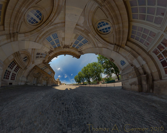 Institut de France (Stereo 3), Spherical panorama, stereographic projection