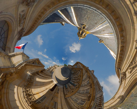 Institut de France (Stereo 6), Spherical panorama, stereographic projection